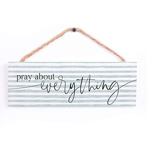 P. Graham Dunn Pray About Everything Blue Stripe 10 x 3.38 Pine Wood Hanging String Sign