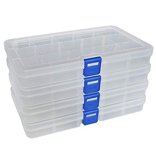 Qualsen Plastik Aufbewahrungsbox Einstellbar Fächer Sortimentskasten Schmuckschatulle Werkzeugcontainer (15 Raster X 4 Packungen, Transparent)