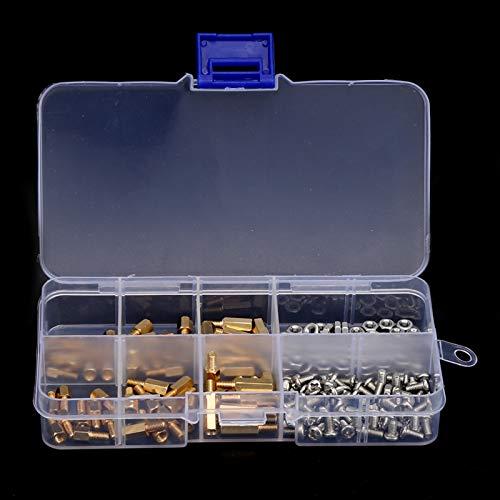 Tornillos espaciadores hexagonales de latón 180 piezas Juego de tuercas de tornillo M3 para el hogar para reparación mecánica
