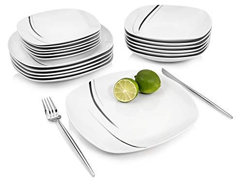 Sänger Tafelservice Bilgola Black Lines - 18 teiliges Service für 6 Personen, weißes Teller-Set aus Porzellan mit dekorativen Streifen - Speiseteller, Suppenteller und Dessertteller