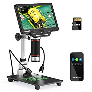 TOMLOV HDMI LCD Digital Microscope,16MP Coin Microscope with 7″ Screen for Adults,LED Light Touch Control,Video Microscope,TV/Windows/Mac Compatible,32GB Card Included