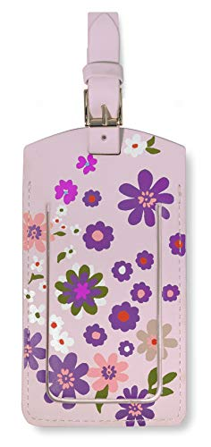 Kate Spade New York Vegan Leather Luggage Tag for Women, Pink/Purple Durable Suitcase ID Tag, Pacific Petals