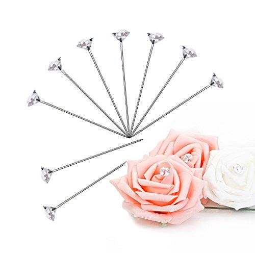 Magic Show 100piezas 2pulgadas Clear ramilletes, de novia boda ramo de flores de pines de cristal Alfileres con flores pins