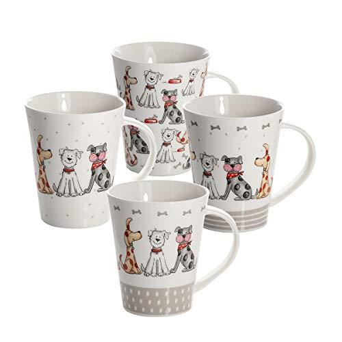 SPOTTED DOG GIFT COMPANY 4er Set große Tassen Kaffeebecher Kaffeetassen Mugs Keramik Porzellan, weiß Hunde Design Hundemotiv Geschenk für Hundeliebhaber Hundebesitzer und Hundefreunde