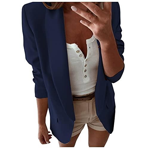 ISHOWTIENDA Abrigo de mujer, chaqueta de traje, elegante, entallada, para negocios, suelta, de manga larga, informal, ropa de oficina, abrigo, chaqueta., 039-azul marino, XXL