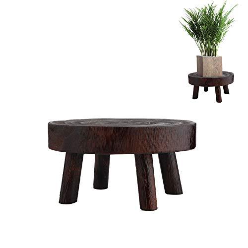 YIREAUD - Taburete de madera redondo decorativo para plantas de madera, taburete de jardín, soporte para plantas de interior, diseño vintage de