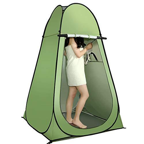 WXH Acampar Tienda de duchas Vestuario portátil Privacidad Vivienda Playa Bolsa de Transporte para Inodoro Práctica Ventana emergente Cómoda Impermeable, Green