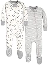 Burt's Bees Baby baby boys Unisex Pajamas, Zip-front Non-slip Footed Pjs, Organic Cotton and Toddler Sleepers, A Bee C/Stripe 2-pk, 24 Months US
