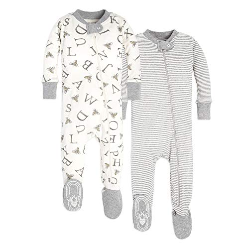Burt's Bees Baby Unisex Pajamas, A-Bee-C/Stripes 2-Pack, 12 Months