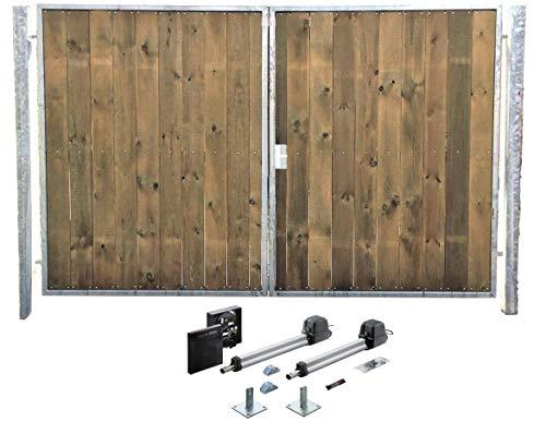 Einfahrtstor Verzinkt Holz Tor Senkrecht Sym. 2-flügelig Elektro 400cm x 180cm