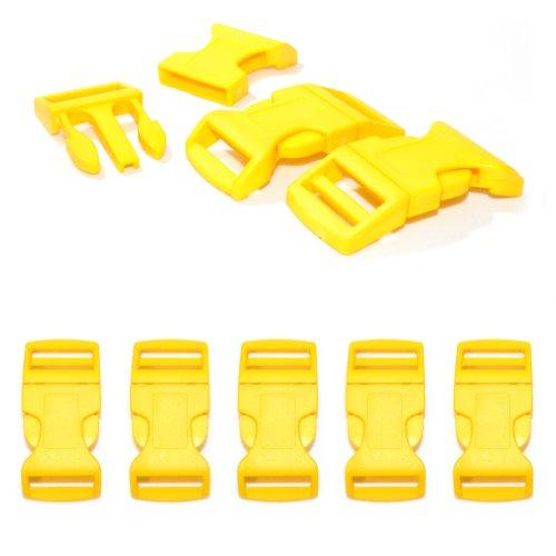 '5 pièces 1 fermeture à clic/Fermoir à clip à douille XL (No) en plastique pour bracelets paracord, cordons etc., 65 mm x 32 mm, couleur : jaune – Ganzoo