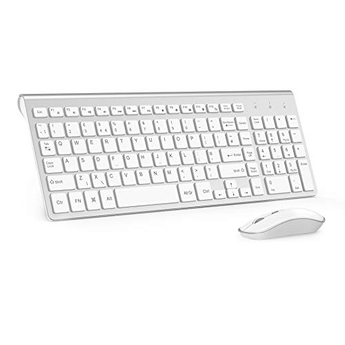 Wireless Keyboard and Mouse, 2.4Ghz Wireless Keyboard with Numeric Keypad and Silent Mouse 2400DPI for PC, Desktop, Computer,Laptop, Windows XP/Vista/7/8/10 (UK layout) by J JOYACCESS Silver + White