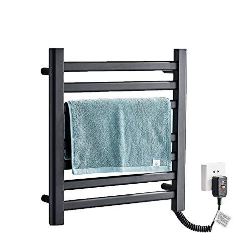 SYN-GUGAI Baño Blanco/Negro radiador de Toallas de calefacción eléctrica Plano montado en la Pared 505 * 505 * 60 mm, clasificación de impermeabilidad IP24, Aluminio Espacial, Black