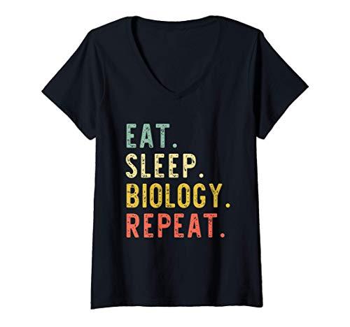 Mujer Eat Sleep Biology Repeat Biología Biólogo Retro Camiseta Cuello V