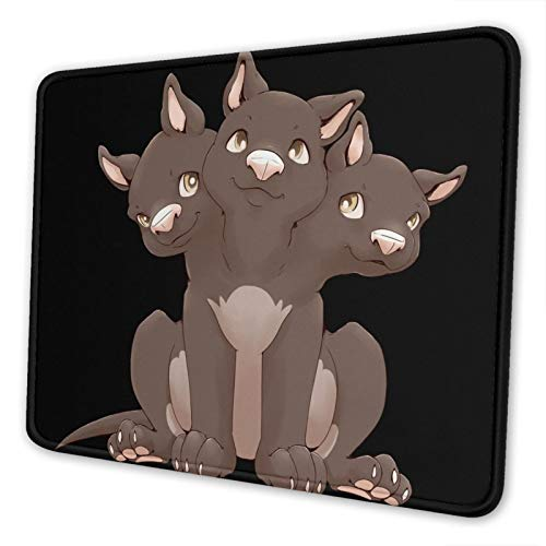 Cute Cerberus Puppy Non-Slip Mousepad Gaming Computer Mouse Pad Gaming Desktop Laptop Mouse Pad with Stitched Edge 10x12 in