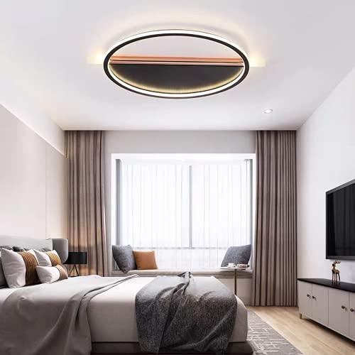 Chambre Lampe Éclairage De Plafond,Led Plafonniers Salon Dimmable Avec Télécommande,Lampe D'Étude En Aluminium Macaron,50Cm Noir,Lumière Blanche