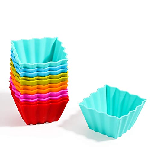 Kayaso Reusable Silicone Baking Cups, None-Stick Cupcake Muffin liners,Mini Cake Mold, BPA free, Fluted Square Mold, 12 pack, Assorted Colors, Standard Size