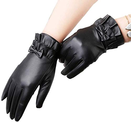 Guantes para hombre Damas de piel de cordero de cuero genuino cuero suave piel de cordero Moda de conducción guantes negros guantes de cuero del tacto de cachemira guantes forrados Negro Cashmere Forr