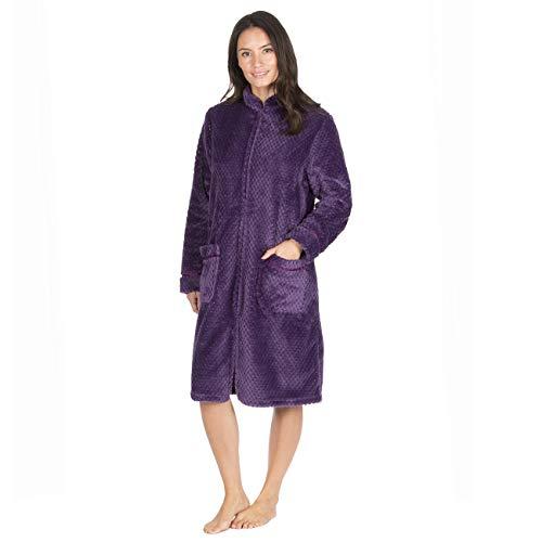 Damen Bademantel mit Reißverschluss, Wabenmuster, in 2 Farben erhältlich Gr. M 40-42, violett