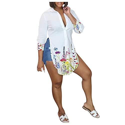 SANFASHION Womens Casual Tshirts Long Sleeve Deep V-Neck Summer Sexy Tops Floral Print Curved Hem Blouse Side Split Shirts