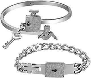 MEENAZ Stainless Steel Silver American Diamond Cubic Zirconia Crystal kada Chain Lock and key Couple Bracelet Set for Men ...