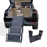 petshug 4 Steps Increased Nonslip Dog Car Ramp, Folding Metal Frame Cat Dog Stairs for High Beds, Trucks, Cars and SUV, Adjustable Lightweight Pet Ladder Support 150lb Large Dogs