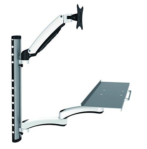 HFTEK FY02CWS Workfit Workstation Sit & Stand Supporto per Monitor Supporto da Parete Fino a 27 Pollici con VESA 75/100 (FY02CWS)