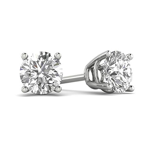 Certified 3/4ct tw Diamond Stud Earring in 14k White Gold (G-H, I2-I3)