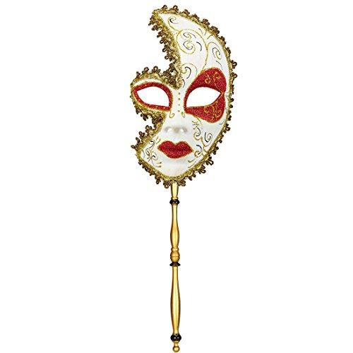 Amakando Barock Stabmaske Rokoko Opernmaske am Stab Venedig Ballmaske Gold Venezianische Maske Karneval Kostüm Accessoires Opern Karnevalsmaske Maskenball Faschingsmaske