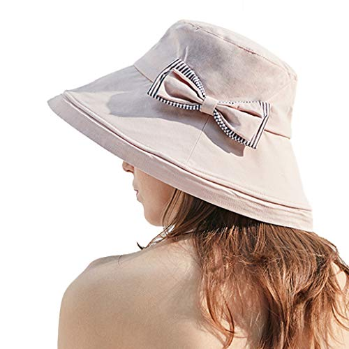 Signore Primavera E Cappello per Il Sole Estivo Cappello per Il Sole Ampia Brim All'aperto Pieghevole Cappello della Visiera di Sun Cappello Protezione UV Beach con Chin Strap UPF50 +,Rosa