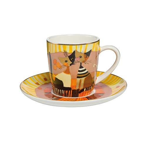 Goebel - Espressotasse Momenti D'oro - Tasse mit Untertasse - Bone China Porzellan - Katzenmotiv - Rosina Wachtmeister 0,1 l