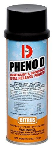 Big D 337 Pheno D Disinfectant & Deodorant Total Release Fogger, Citrus Fragrance, 6 oz (Pack of 12) - Kills harmful viruses, bacteria, fungi, mold, mildew - Ideal for schools, gyms, healthcare facilities