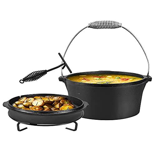 MATHOWAL Cazuela de hierro fundido 2 en 1 con patas con asa y soporte y función de doble tapa, para camping, cocina, barbacoa (31 cm)