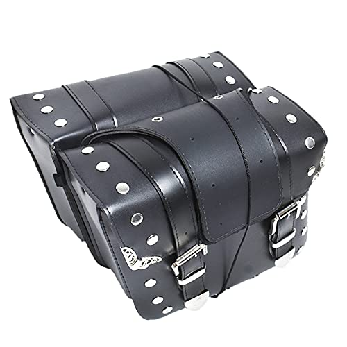 RainMan S 2 x Motorcycle Saddle Bags Side Pannier Luggage Storage PU Leather Replacement for universal Motorcycles 12 x 4.7 x 12