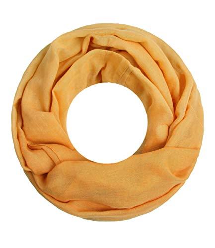 Majea Loop Cary Basic Schal Tuch Damen-schal Schlauchschal Rundschal Halstücher uni unifarben Loopschal einfarbig (senf-gelb)
