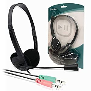 On-Ear Lightweight Headset with Mic/Stereo Headphones with Microphone for PC, Laptop, Tablet, TV, Skype, iPod / 3.5mm Jack Connectors (x2) / Computing Accessories/iCHOOSE