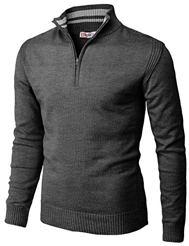 H2H Mens Casual Slim Fit Pullover Sweaters Mock Neck Zip up Various Patterned Charcoal US XL/Asia 2XL (CMOSWL048)