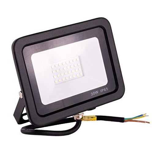 POPP® juegos de 5 y 10 Floodlight Led Foco Proyector Led 10w 20w 30w para Exterior Iluminación Decoración 6000k luz fria Impermeable IP65 Negro y Resistente al agua. (Focos 30 Watios, 1 unidad)