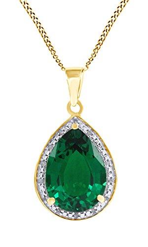 AFFY - Collana con Ciondolo a Goccia in Argento Sterling 925 (5,47 ctw) con Smeraldo Verde e Diamante Naturale, Taglio a Pera e Argento Placcato Oro Giallo 18 ct, cod. MNo-UK-I-CMP-3204-YG