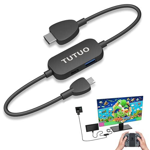 Adapter für Nintendo Switch,TUTUO 1 M Tragbares Switch Dock mit HDMI Konverter Kabel Typ C zu HDMI Switch Docking Station TV Kompatibel mit MacBook/PC/Huawei Mate20/Samsung S21Series
