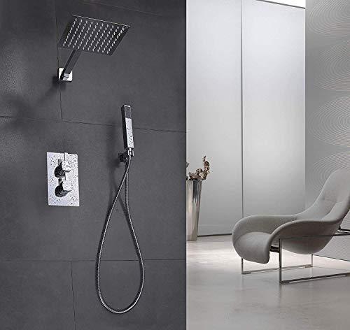 Elbe® Unterputz Duschsystem mit Thermostat, aus Edelstahl 304 und Messing, quadratischer Regenduschkopf, einfache Installation
