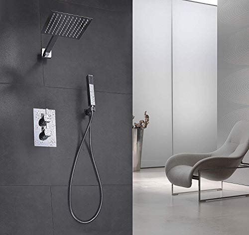 Elbe Unterputz Duschsystem mit Thermostat, aus Edelstahl 304 + Messing, Duschset mit Quadratische Überkopfbrause und Handbrause, Duschsäule mit Regendusche, einfache Installation