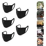 ALBRIGHT (5 pcs) Máscara bucal de algodón suave para la oreja, antipolvo, reutilizable lavable máscara para hombres y mujeres, para clima frío, correr, ciclismo, camping, viajes negro