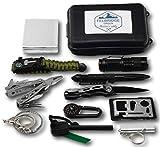 Felbridge Green Kits de Supervivencia en Emergencia con Alicates Plegables Multitool y Pulsera Paracord | para Acampar Bushcraft Militar y en Sus Aventuras al Aire Libre | 12 in 1 Survival Kit