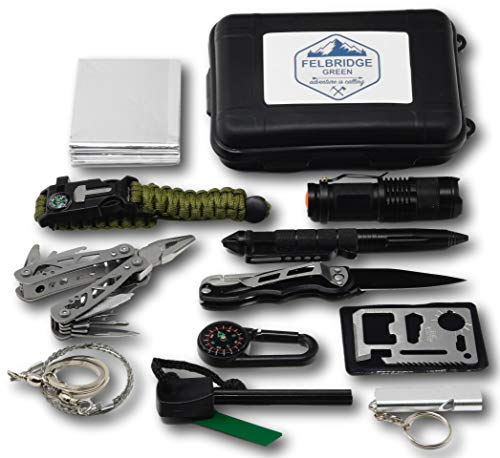 Felbridge Green Kits de Supervivencia en Emergencia con Alicates Plegables Multitool y Pulsera Paracord | para Acampar Bushcraft Militar y en Sus Aventuras al Aire Libre | 12 in 1 Survival Kit