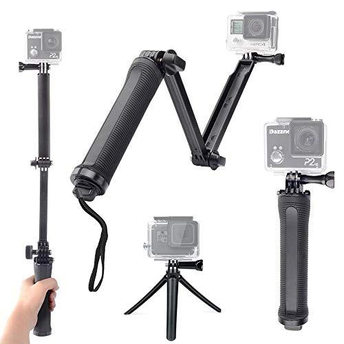 GoPro アクセサリー 3Way 自撮り棒 防水 GoPro hero7/hero6/hero5/hero4/muson 対応 軽量 三脚 一脚 折り畳み ゴープロ セルカ棒 アングル調整可能
