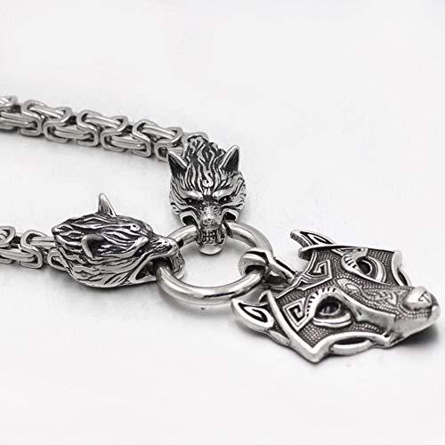 YANGFJcor Collar con Colgante de Cabeza de Lobo de Acero Inoxidable Vikingo Grande Hecho a Mano Retro, Norte de Europa 3D Plata Ojos Negros Cadena Cuadrada Amuleto pagano Niño Niña Regalo,70cm