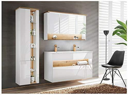 """naka24 Badmöbel Set \'\'Bahama-WEIß 120\"""" Badmöbel mit Doppelwaschbecken Badmöbelset LED (Waschtisch Spiegelschrank Hochschrank)"""
