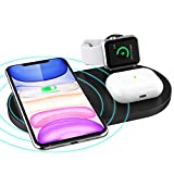 3 in 1 Wireless Charger, Wireless Charging Station with iWatch Stand for iWatch 5/4/3/2, 10W Qi Fast Charger for iPhone 11/11 Pro Max/XR/XS Max/XS/X/8/8P, Airpods 1/2/Pro (Black)