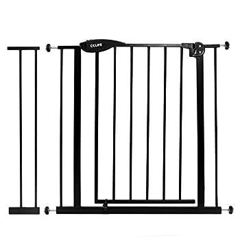 CCLIFE Barrière de Sécurité pour Enfant et Animale Auto Close Sans Perçage Largeur 75-85 cm Extension de 14cm Couleur: Noir